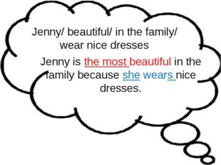 Jenny/ beautiful/ in the family/ wear nice dresses Jenny is the most beautifu