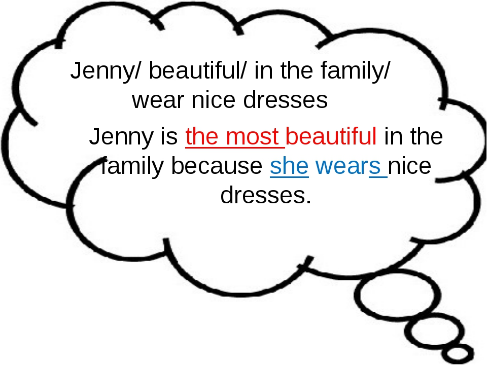 Jenny/ beautiful/ in the family/ wear nice dresses Jenny is the most beautifu...