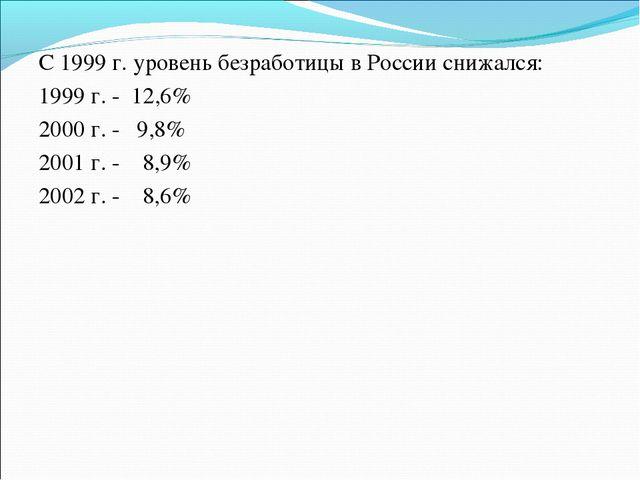 С 1999 г. уровень безработицы в России снижался: 1999 г. - 12,6% 2000 г. - 9,...