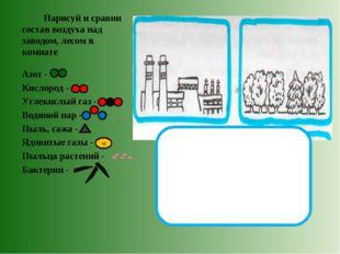 Нарисуй и сравни состав воздуха над заводом, лесом в комнате Азот - Кислород