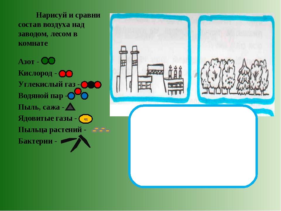 Нарисуй и сравни состав воздуха над заводом, лесом в комнате Азот - Кислород...