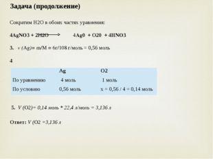 Задача (продолжение) Сократим Н2О в обоих частях уравнения:  4AgNO3 + 2Н2О 4