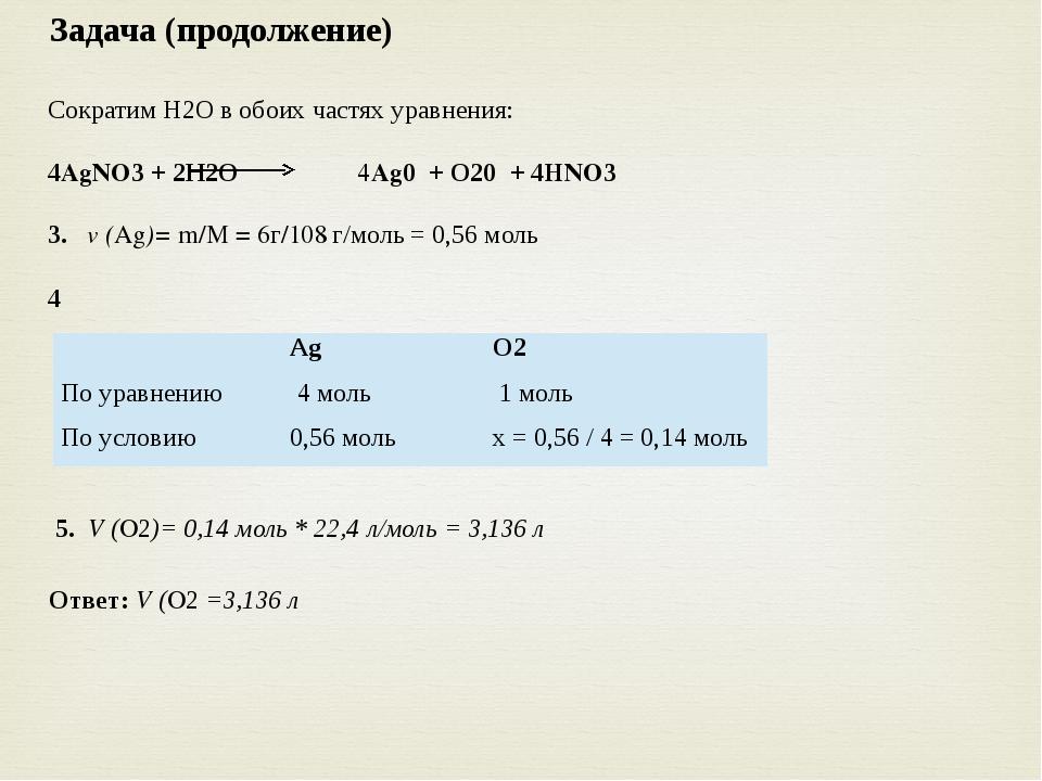 Задача (продолжение) Сократим Н2О в обоих частях уравнения:  4AgNO3 + 2Н2О 4...