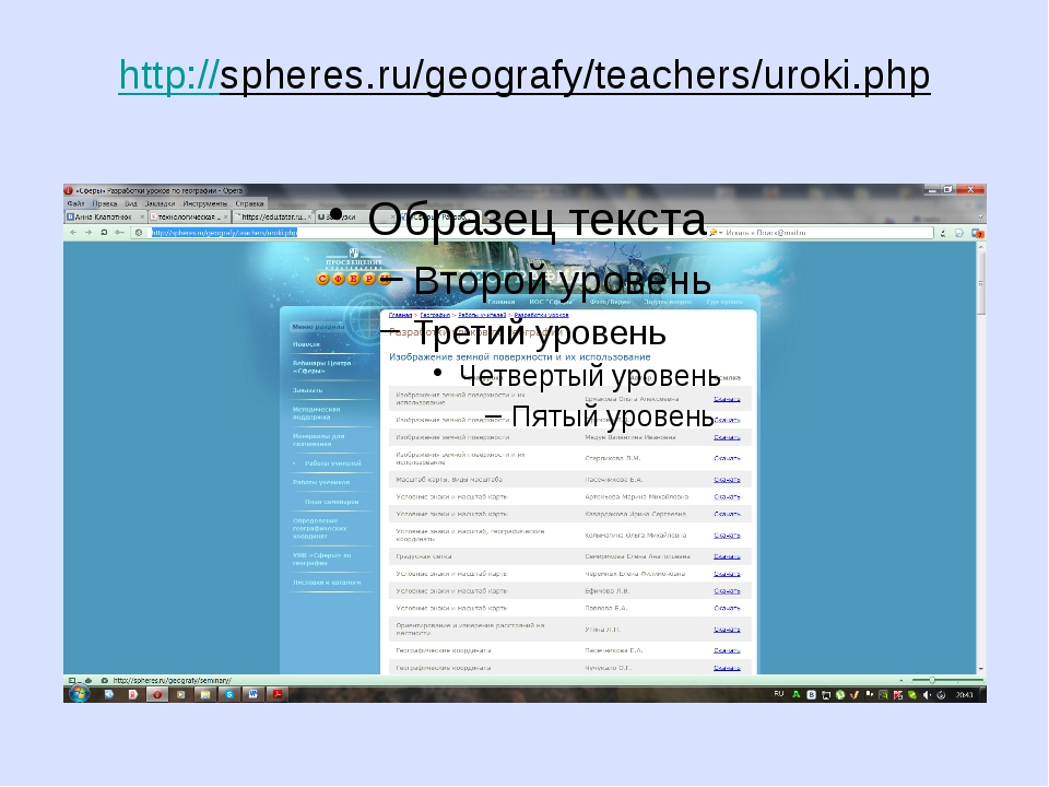 http://spheres.ru/geografy/teachers/uroki.php