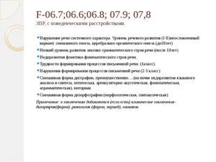 F-06.7;06.6;06.8; 07.9; 07,8 ЗПР, с поведенческими расстройствами. Нарушение