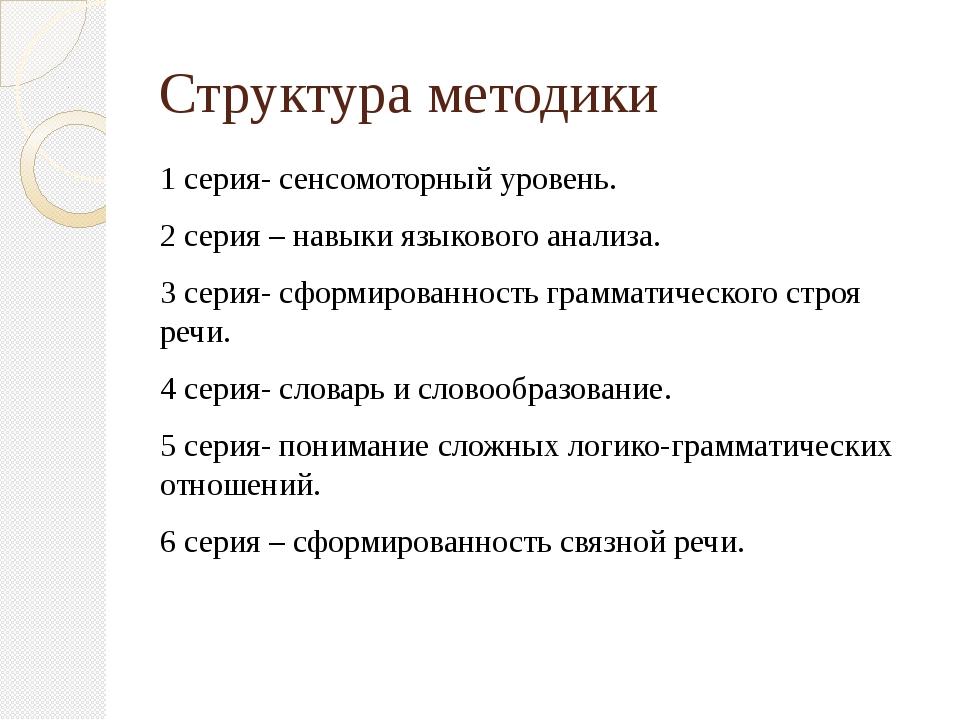 Структура методики 1 серия- сенсомоторный уровень. 2 серия – навыки языкового...