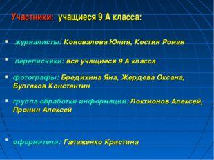 Участники: учащиеся 9 А класса: журналисты: Коновалова Юлия, Костин Роман пе