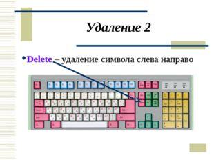 Удаление 2 Delete – удаление символа слева направо