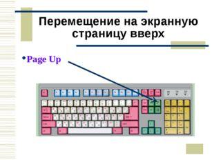 Перемещение на экранную страницу вверх Page Up