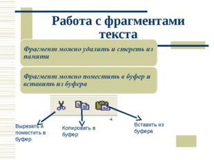 Работа с фрагментами текста Вырезать и поместить в буфер Копировать в буфер В
