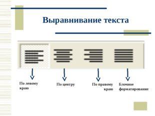 Выравнивание текста По левому краю По центру По правому краю Блочное форматир