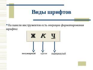 Виды шрифтов На панели инструментов есть операции форматирования шрифта полуж