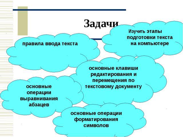 Задачи Изучить этапы подготовки текста на компьютере правила ввода текста осн...