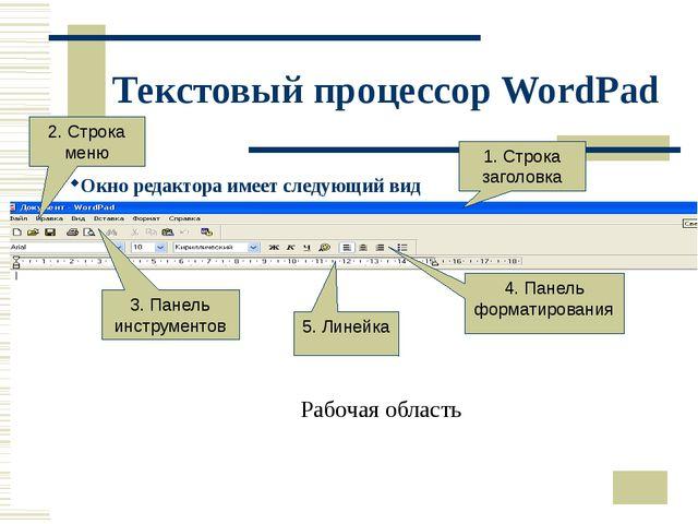 Текстовый процессор WordPad Окно редактора имеет следующий вид 2. Строка меню...
