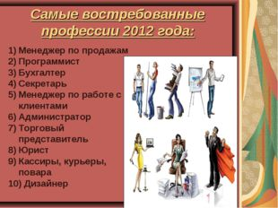 Самые востребованные профессии 2012 года: Менеджер по продажам Программист Бу