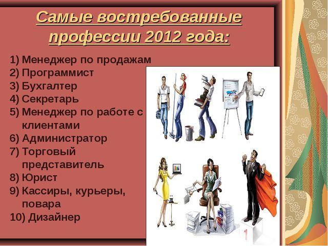 Самые востребованные профессии 2012 года: Менеджер по продажам Программист Бу...