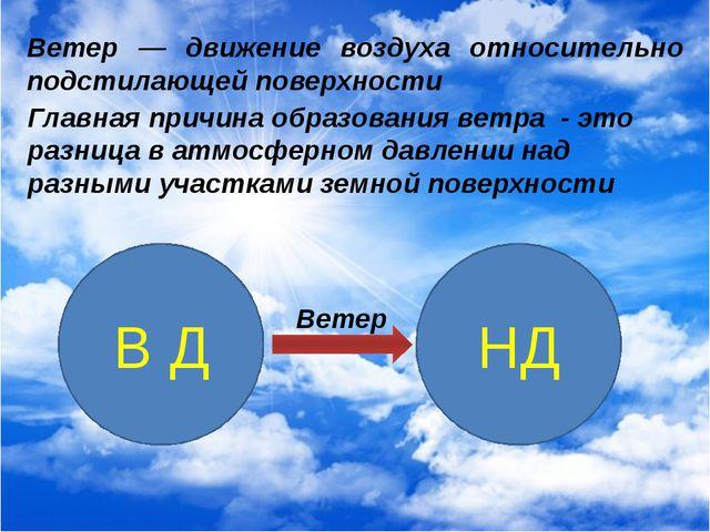 Ветер — движение воздуха относительно подстилающей поверхности Главная причин...