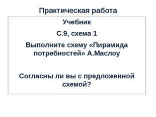 Практическая работа Учебник С.9, схема 1 Выполните схему «Пирамида потребност
