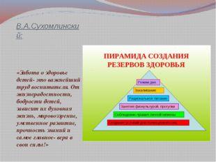 В.А.Сухомлинский: «Забота о здоровье детей- это важнейший труд воспитателя. О