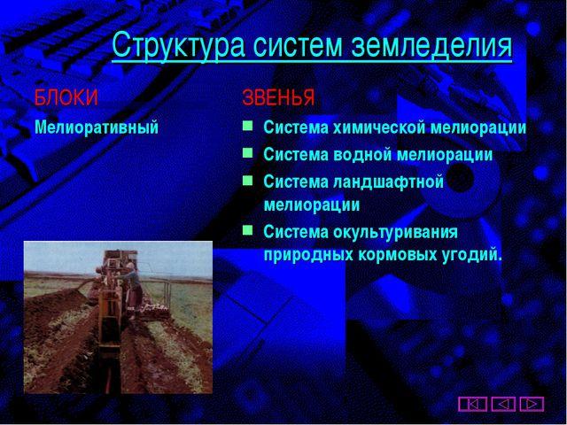 Структура систем земледелия БЛОКИ Мелиоративный ЗВЕНЬЯ Система химической мел...