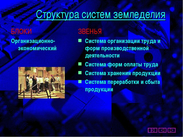 Структура систем земледелия БЛОКИ Организационно-экономический ЗВЕНЬЯ Система...
