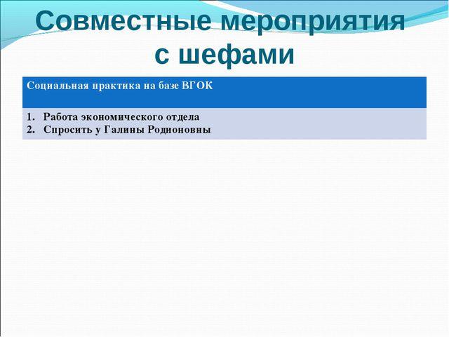 Совместные мероприятия с шефами Социальная практика на базе ВГОК Работа эконо...