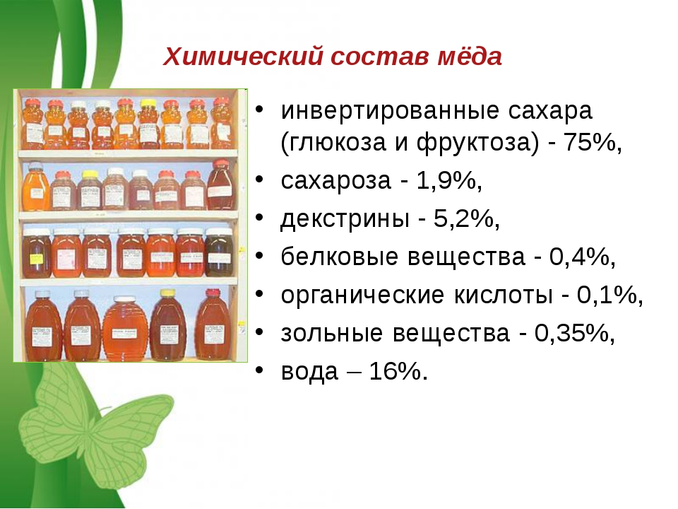 Химический состав мёда инвертированные сахара (глюкоза и фруктоза) - 75%, сах...