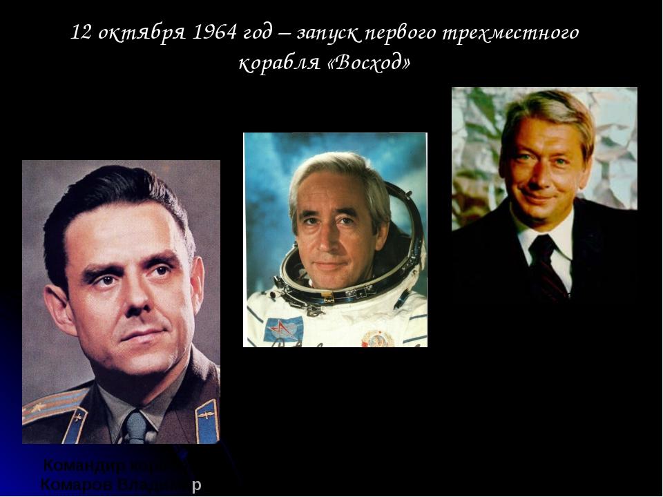 12 октября 1964 год – запуск первого трехместного корабля «Восход» Командир к...