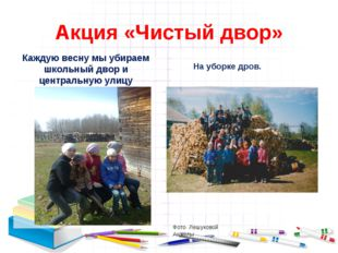 Акция «Чистый двор» Фото Лешуковой Анжелы Каждую весну мы убираем школьный дв