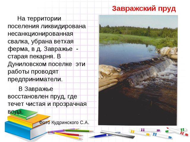 Завражский пруд На территории поселения ликвидирована несанкционированная св...