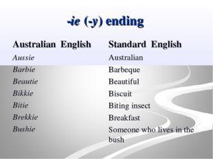 -ie (-y) ending Australian English Aussie Barbie Beautie Bikkie Bitie Brekkie