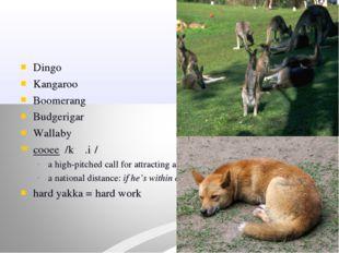 Dingo Kangaroo Boomerang Budgerigar Wallaby cooee /kʉː.iː/ a high-pitched cal