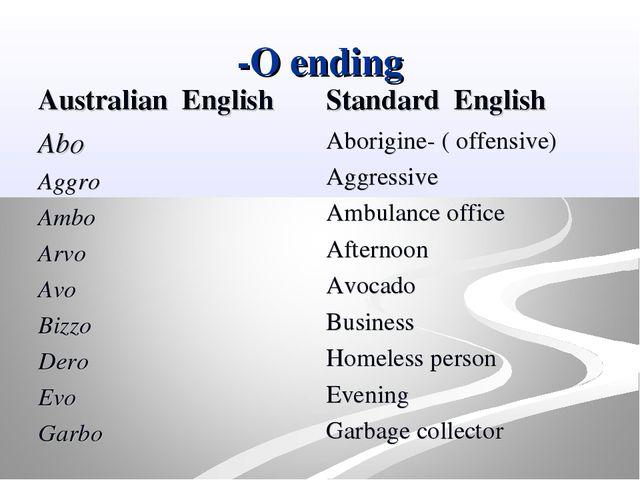 -O ending Australian English Abo Aggro Ambo Arvo Avo Bizzo Dero Evo Garbo St...