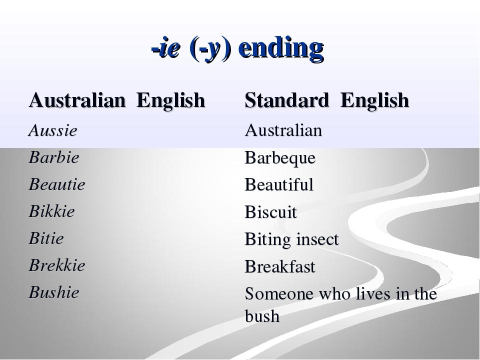 -ie (-y) ending Australian English Aussie Barbie Beautie Bikkie Bitie Brekkie...