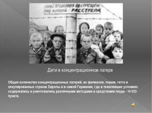 Дети в концентрационном лагере Общее количество концентрационных лагерей, их