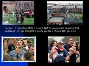 Беслан. 1 сентября 2004 г. Школа №1.В результате теракта 333 человека, из ни