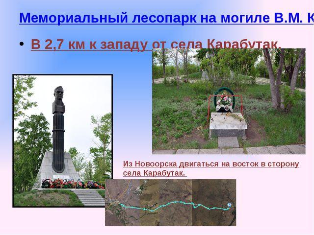 Мемориальный лесопарк на могиле В.М. Комарова В 2,7 км к западу от села Караб...