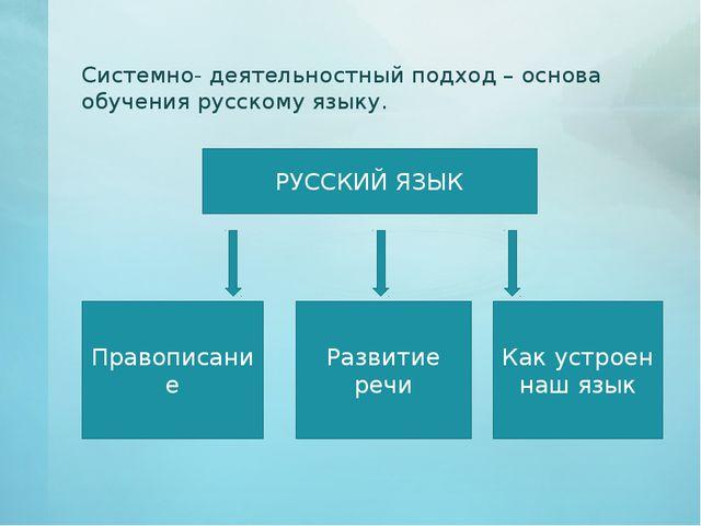Системно- деятельностный подход – основа обучения русскому языку. РУССКИЙ ЯЗЫ...
