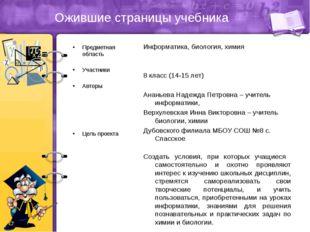 Ожившие страницы учебника Предметная область Участники Авторы Цель проекта Ин