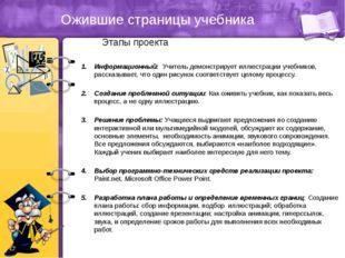 Ожившие страницы учебника Этапы проекта Информационный: Учитель демонстрирует