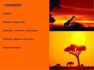 СИНКВЕЙН Африка. Жаркая, загадочная. Обжигает, утомляет, восхищает. Знойная А