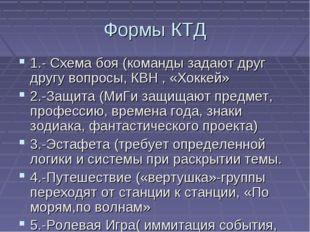 Формы КТД 1.- Схема боя (команды задают друг другу вопросы, КВН , «Хоккей» 2.