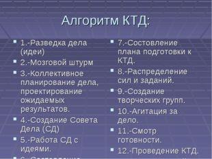 Алгоритм КТД: 1.-Разведка дела (идеи) 2.-Мозговой штурм 3.-Коллективное плани