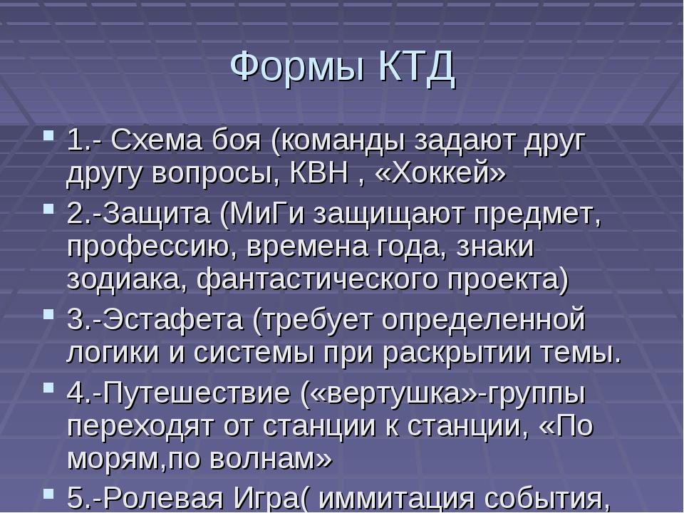 Формы КТД 1.- Схема боя (команды задают друг другу вопросы, КВН , «Хоккей» 2....