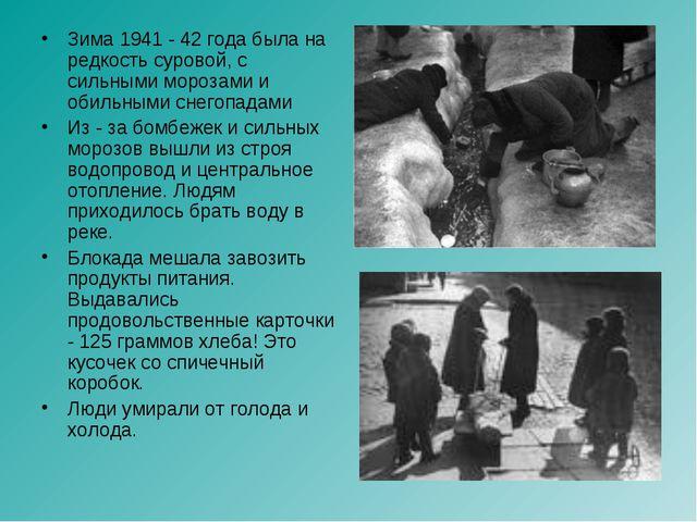 Зима 1941 - 42 года была на редкость суровой, с сильными морозами и обильными...