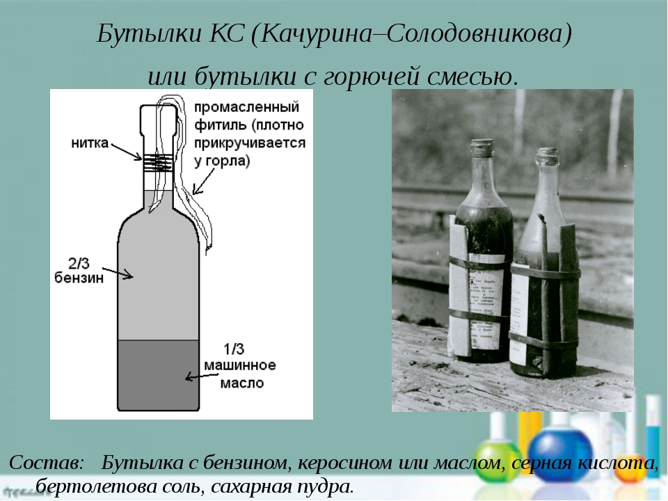 Бутылки КС (Качурина–Солодовникова) или бутылки с горючей смесью. Состав: Бут...