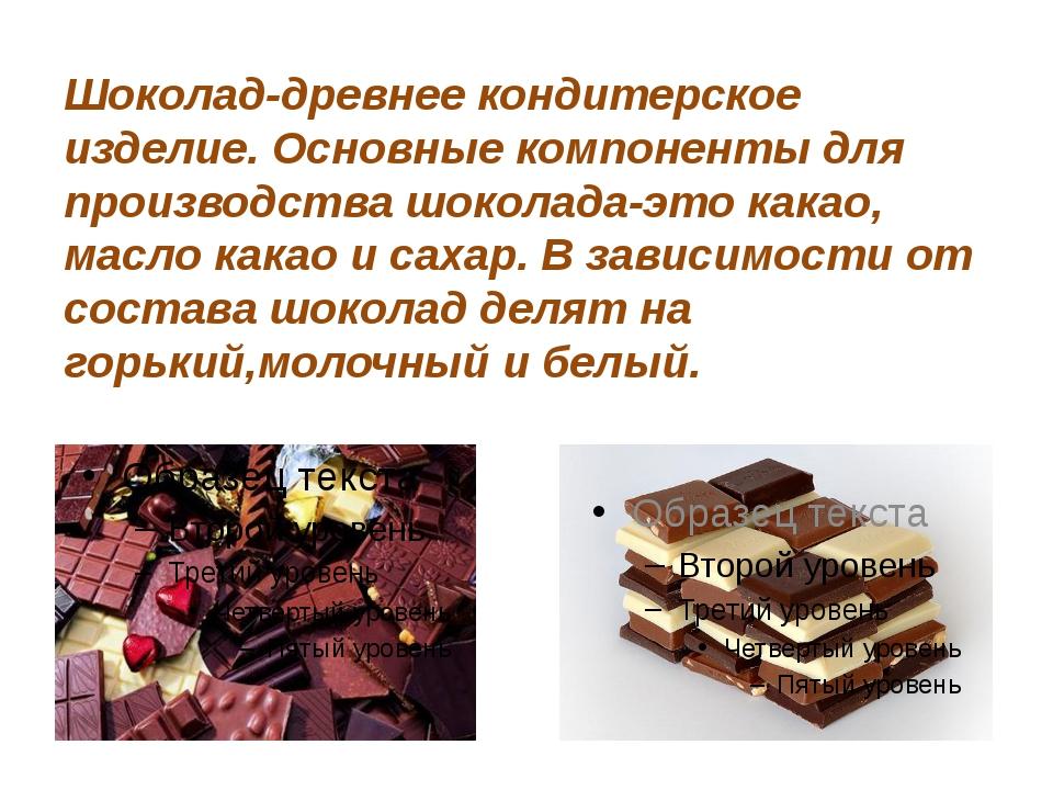 Шоколад-древнее кондитерское изделие. Основные компоненты для производства шо...