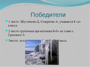 Победители 1 место Шустикова Д, Смирнова А, учащиеся 8 «а» класса 2 место гр