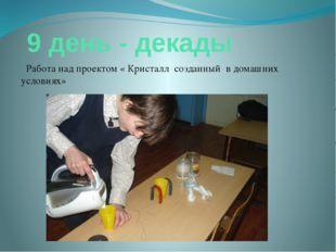 9 день - декады Работа над проектом « Кристалл созданный в домашних условиях»