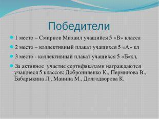 Победители 1 место – Смирнов Михаил учащийся 5 «В» класса 2 место – коллекти